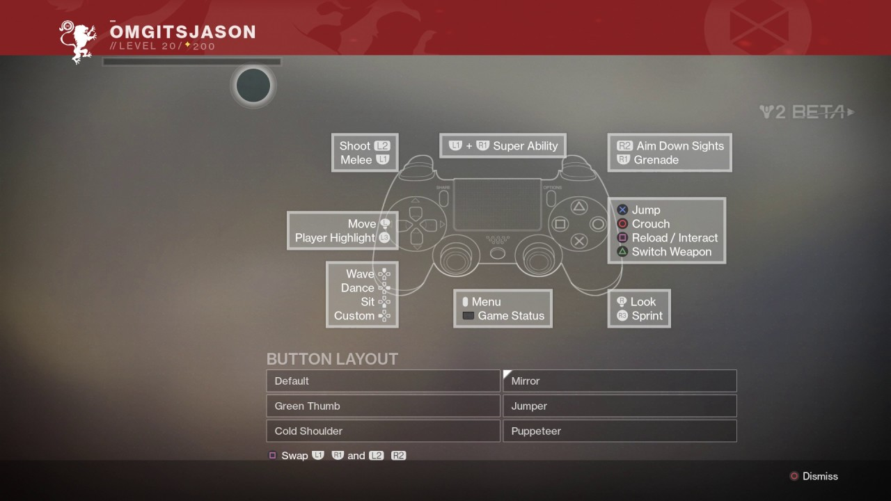 Destiny 2 - Dual Shock 4 Button Layouts: Default, Jumper, Green thumb, Cold  Shoulder, Puppeteer