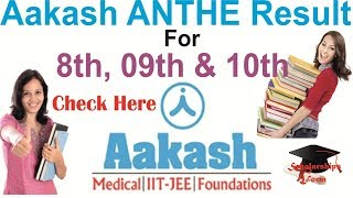Aakash ANTHE Result 2018 for for Class 8th , 9th 10th PDF