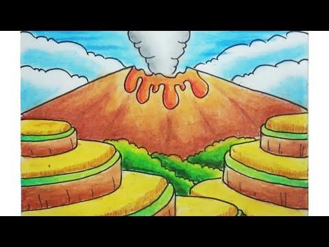 Cara menggambar dan mewarnai pemandangan alam dan gunung meletus ...