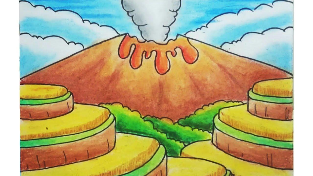 Cara Menggambar Dan Mewarnai Pemandangan Alam Dan Gunung Meletus