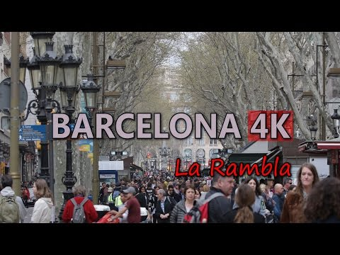 Ultra HD 4K Barcelona Travel La Rambla Tourism Lifestyle Shopping Street UHD Video Stock Footage