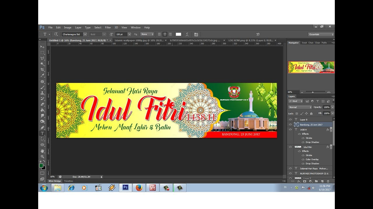 Cara Membuat Spanduk Hari Raya Idul Fitri 1438 H 2017 M Youtube