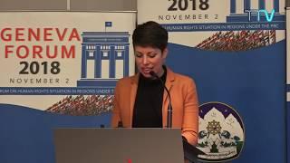 Ms. Lisa Mazzone, member of the Swiss National Parliament speaks at the Geneva Forum 2018