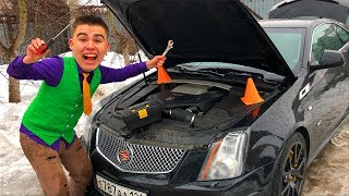Mr. Joe repair Broken Car Cadillac CTS-V in Car Service & Started Funny Race for Kids