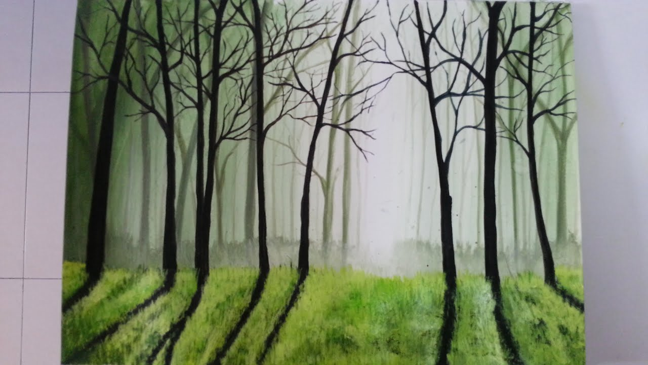 Drawing painting mistry forest youtube for Forest scene drawing