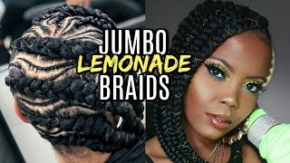 JUMBO LEMONADE BRAIDS | FEED-IN BRAIDS PROTECTIVE STYLES W/ TZ3 BRAID #CLIENTELEXPERIENCE  TASTEPINK
