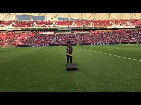 Bri Ray Sings National Anthem At Real Salt Lake vs. Manchester United Game