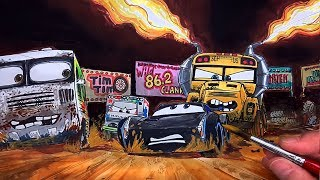 Draw Jackson Storm Getting Chased by Miss Fritter in CARS 4. Drawing Coloring for Kids