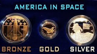 1988 America In Space Gold Silver & Bronze Medal Set!