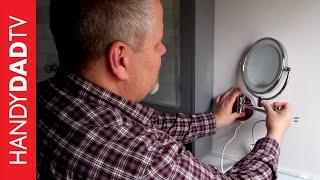 Lighted Makeup Mirror Hard Wired Installation   Master Bath Remodel (part 10)