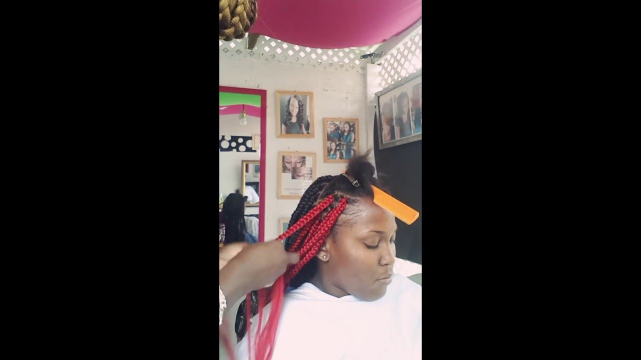 Box Braids With Red And Black Hair