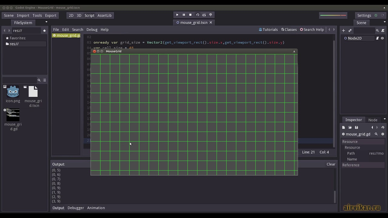 Godot Engine: Extracting Grid Coordinates from Mouse Cursor Position