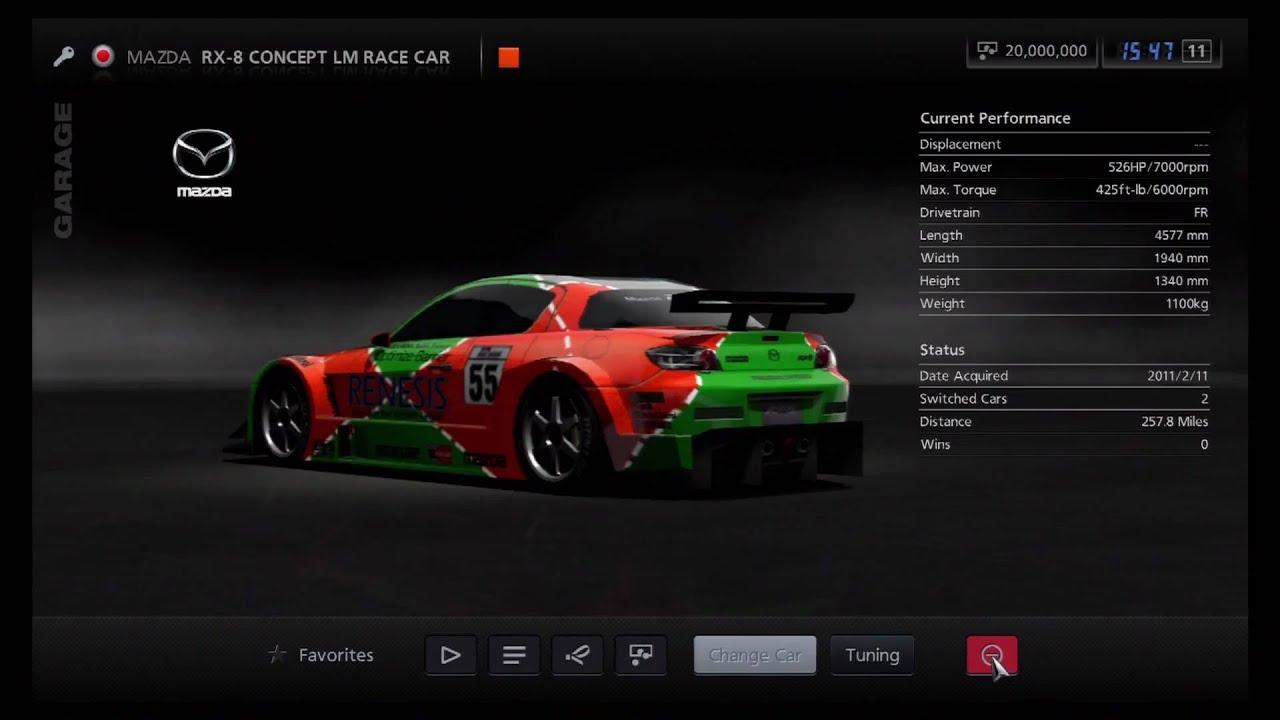 Gran Turismo 5 - Mazda RX-8 Concept LM Race Car - YouTube