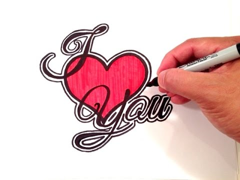 How To Draw I Love You With A Heart And Border Youtube