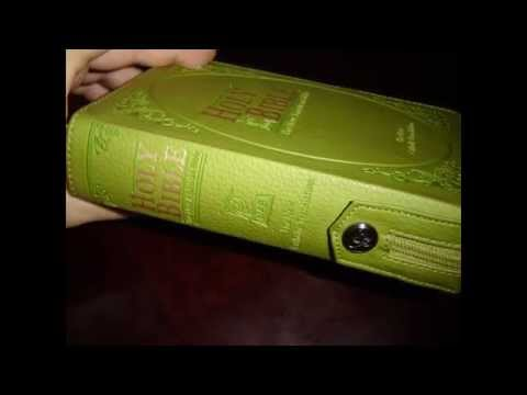 Catholic Bible Green Leather Cover With Zipper, Golden Edges / THE NEW AMERICAN BIBLE