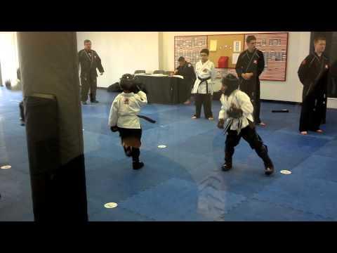 2/8/14 Level 1 brown belt testing, sparring.