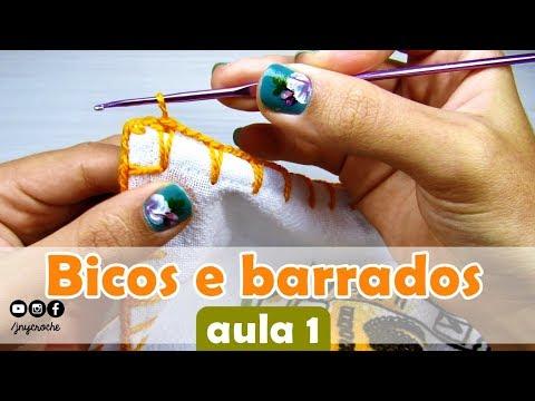 Bicos de crochê simples, fácil e rápido para iniciantes | AULA 1 - JNY Crochê