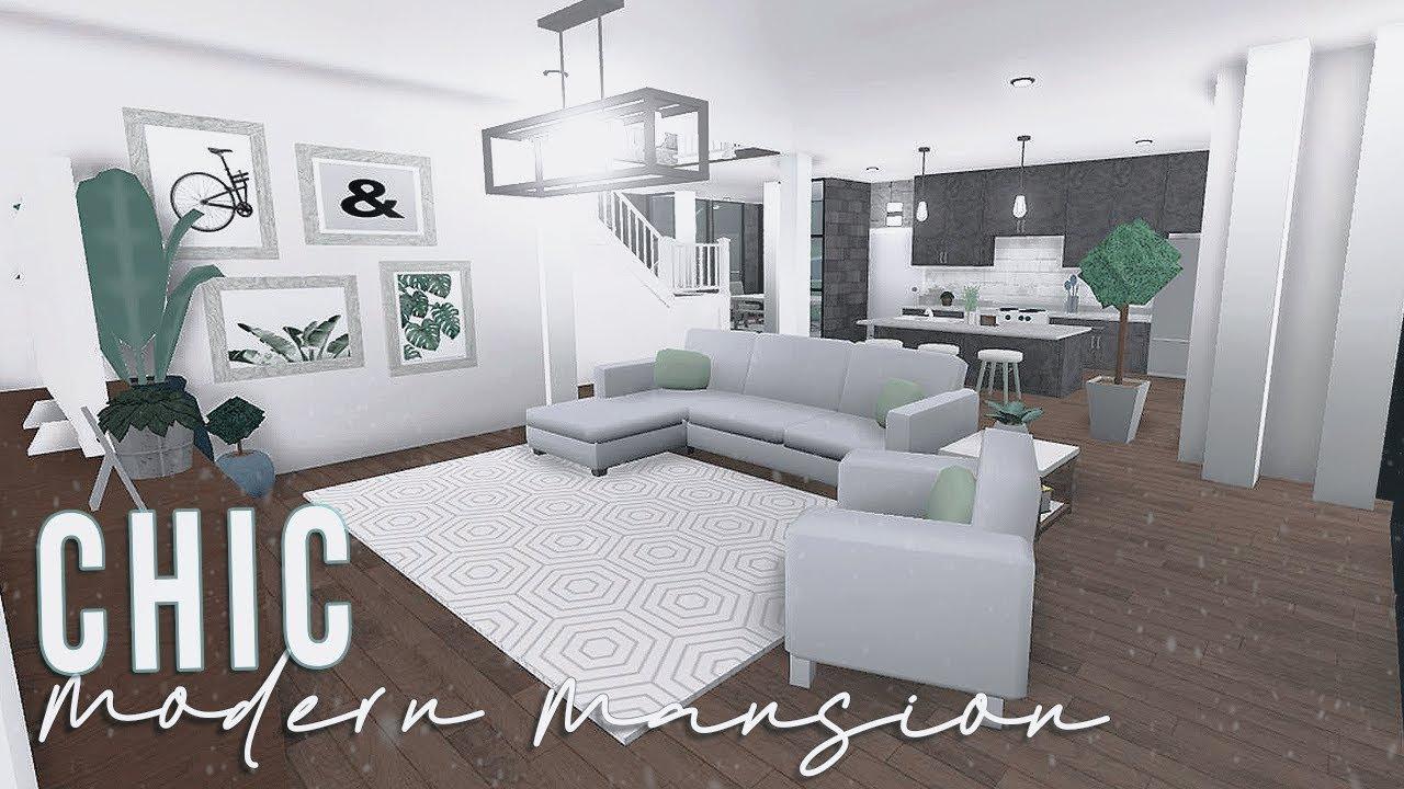 Roblox Bloxburg Chic Modern Mansion 120k Youtube
