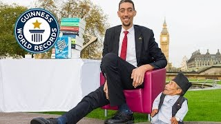 Guinness World Records Day 2014 - Tallest and shortest men meet for the first time