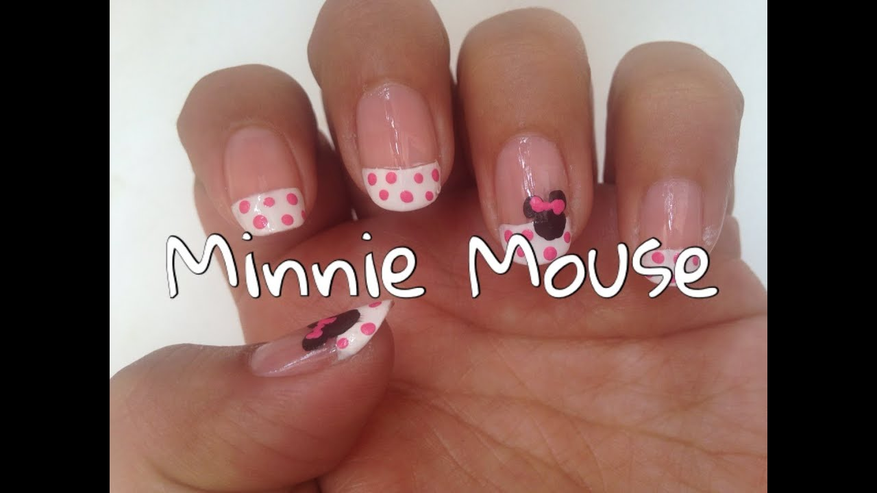 DISEÑO DE UÑAS FRANCESAS CON MINNIE MOUSE/MINNIE MOUSE NAILART - YouTube