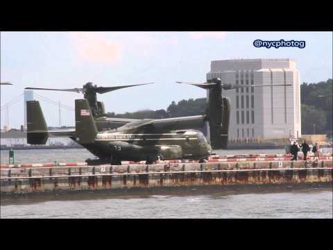 Marine One landing At Wall Street Heliport