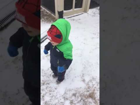 Joshua's first time seeing snow 1