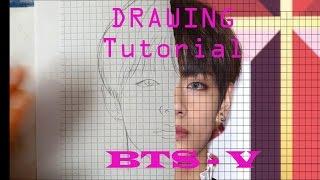 방탄소년단 BTS - 뷔 V  Drawing tutorial + [ kor.sub & عربيCC]