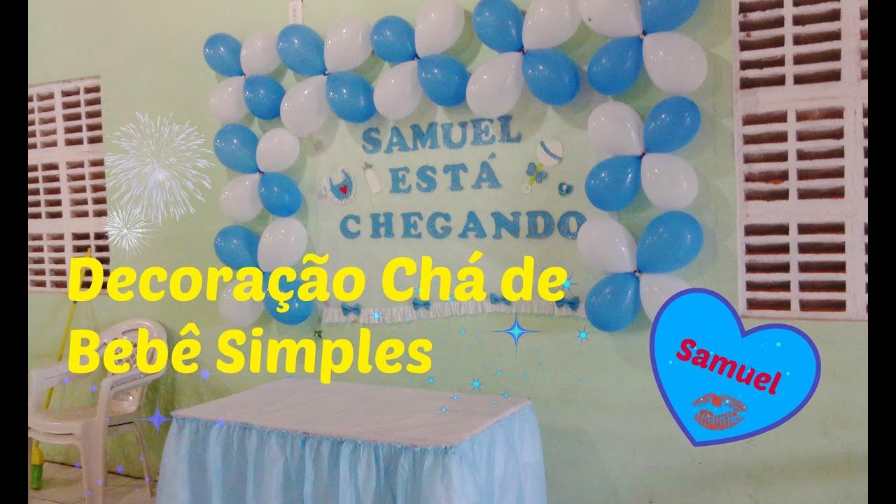 Decoração chá Decoração simples balões azul