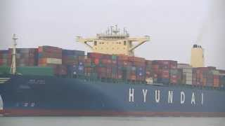 Hyundai Speed container ship departure from Southampton's Container Port 18/05/13.