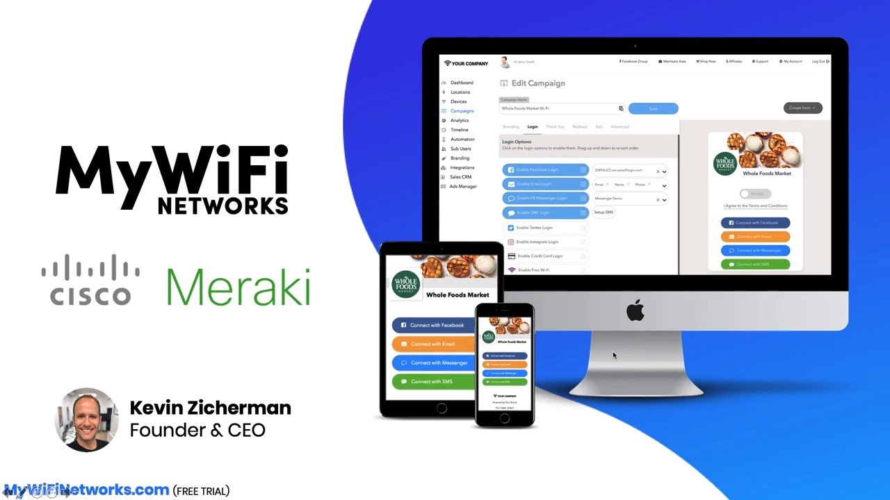 White Label WiFi Marketing Captive Portal for Cisco Meraki Cloud Dashboard  (Social WiFi for Meraki)