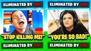 My Little Brother Gets ELIMINATED By A GIRL In FORTNITE Battle Royale! 😂 EMBARRASSING 'HE RAGED'