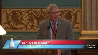Sen. Hansen delivers farewell address