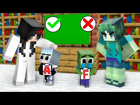 Monster School : Baby Zombie and Little Sister Wofl Girl - Sad Story - Minecraft Animation