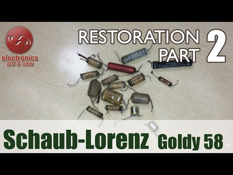 Schaub-Lorenz Goldy 58 type 3020 tube radio restoration - Part 2. Capacitors swapped.