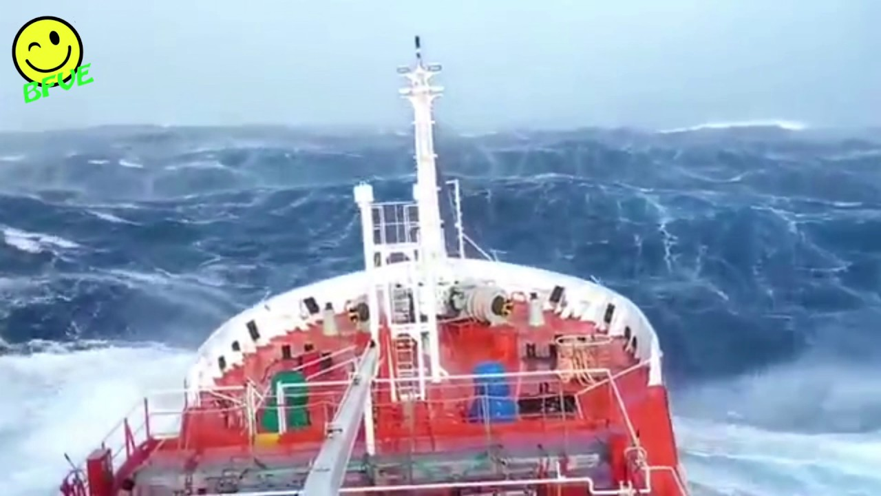 Big Ship in Extreme Hurricane - Heavy Sea & Very High Waves - Ship Sailing in Storm at Rough Sea