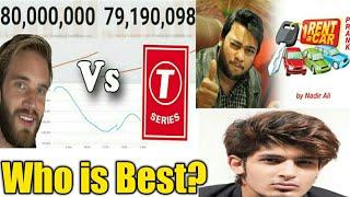 Pewdiepie vs T-series | Shahmeer + Nadir Ali +ZaidAliT Vlogs| Who is best?