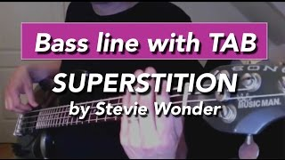 Superstition by Stevie Wonder bass lesson with tabs - How to play