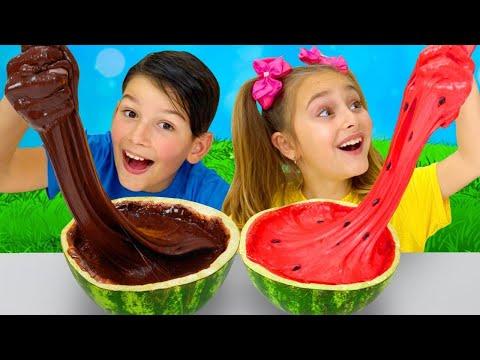 Sasha And Watermelon Slime Challenge