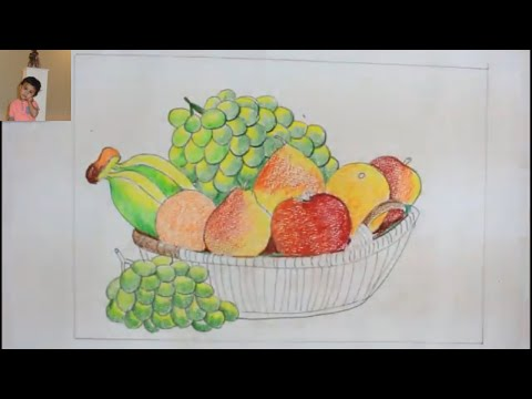 How TO DrawFruits basker [Still Life] Step By Step  And Color It/Draw Still Life/Fruits Basket