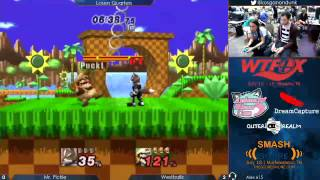 WTFox - Mr. Pickle (Wario) vs Westballz (Fox) - Project M Losers Quarters