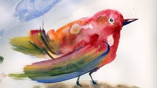 Акварельная птичка.  Рисуем для детей. Watercolor bird. Drawing for children