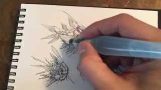 Pilot Hi-Tec-C pen, with Pentel Aquash Water Brush