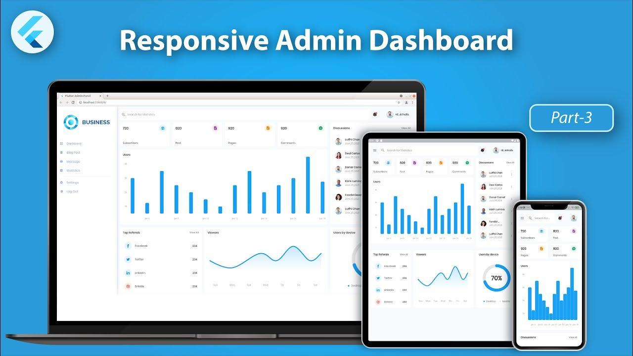 Responsive Admin Dashboard or Panel using Flutter  - Flutter Web UI - Part 3
