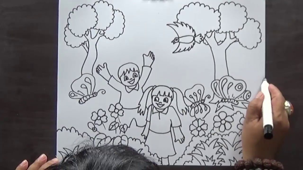 how to drawing sketch for kid playing in the park - Drawing Sketch For Kids