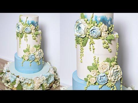 Blue Peony buttercream wedding cake tutorial - American Cake Decorating Magazine - relaxing