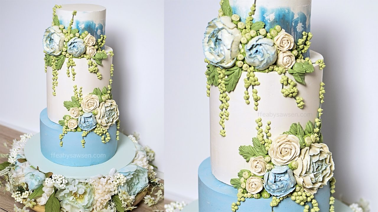 Blue Peony buttercream wedding cake tutorial   American Cake     Blue Peony buttercream wedding cake tutorial   American Cake Decorating  Magazine   relaxing