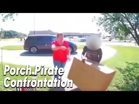 Woman Confronts Suspected Porch Pirate Stealing Her Package