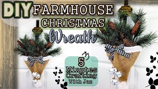 | DOLLAR TREE FARMHOUSE CHRISTMAS WREATH | BUFFALO CHECK | 5 MINUTES CRAFTING No. 21