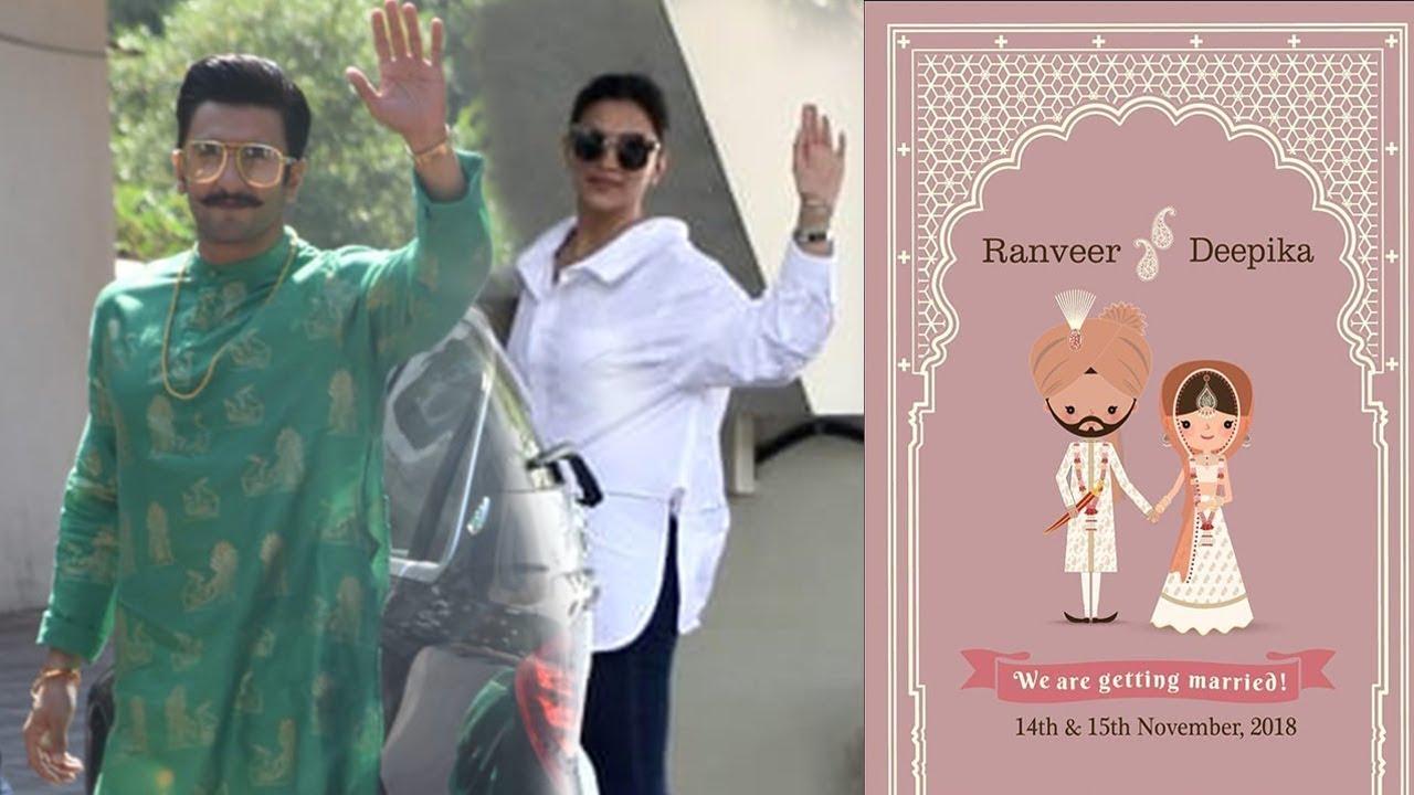 Ranveer Singh Deepika Padukone Snapped With Wedding Card At Sanjay