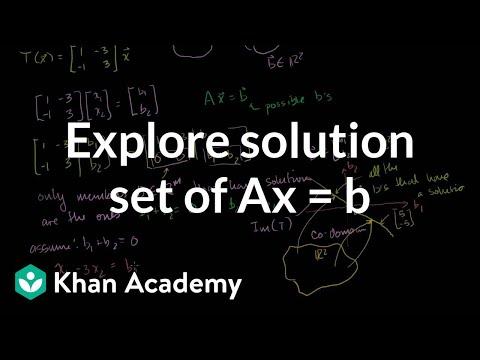 Exploring the solution set of Ax = b | Matrix transformations | Linear Algebra | Khan Academy